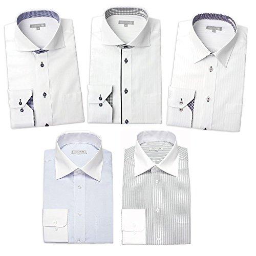 [ドレスコード101] ワイシャツ 長袖 5枚セット Yシャツ 形態安定 メンズ ドレスシャツ デザインシャツ 豊富なサイズ展開でぴったりがみつかる ビジネスシーンでもおしゃれしよう SHIRT-5SET 04 カッタウェイワイドカラー 首回り45cm裄丈