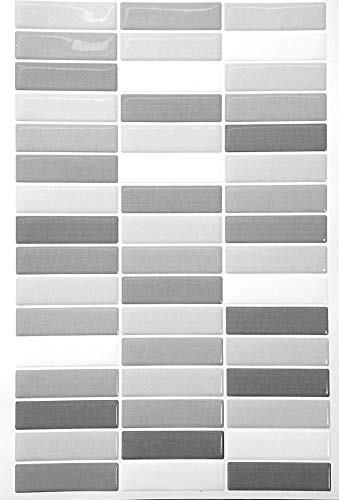 Adhesivos para Pared efecto mosaico RECTANGULAR con relieve. Ideal para pegar sobre azulejos, cristal, madera y cualquier otra superficie lisa. Laminas autoadhesivas