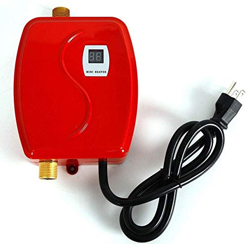 Water Heater, Electric Tankless Instant Mini Kitchen Hot Water Heating Machine 110V (Red)