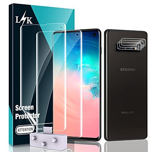 LϟK 3 Pezzi Pellicola Protettiva per Samsung Galaxy S10 - Senza Bolle Support Fingerprint ID HD TPU salvaschermo (L'immagine principale mostra l'errore, nessunaFotocamera Posteriore Pellicola)