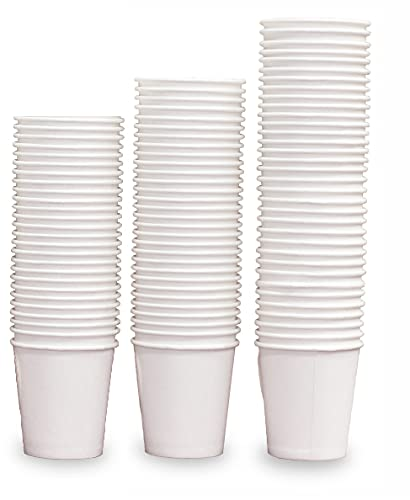 Hypermarket Disposable Paper Cups for Hot and Cold Drink (Pack of 100, 12oz) - Soft Durable Coffee Tea Cup Great for Picnic Office Parties Travel