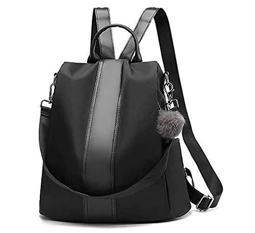 Mochila Ocio Estilo Libre para Mujer Bolsa de Moda Casual School Bag PU Tela Oxford Antirrobo Varios Compartimentos Gran Capacidad Ligera para Estudiates Chicas(Negro)