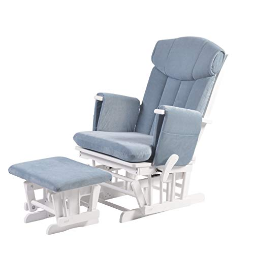 Chatsworth Nursing Glider and Footstool (Slate Blue) - Breastfeeding Chair, Lounge Chair, Smooth Gliding Motion, Easy to Assemble, Solid Hardwood Base