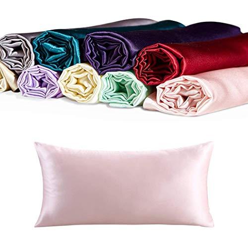 CrazyGo 100% Mulberry Silk Pillowcases, Queen Size,1pc (Pink, 20' 30' (51 76 cm))