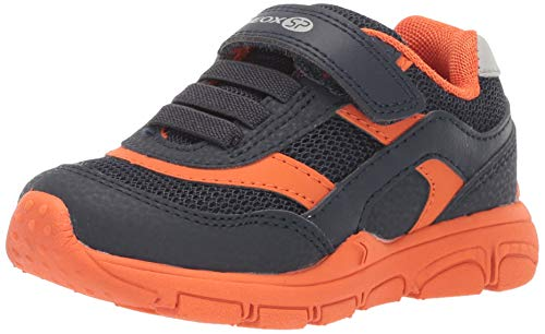 Geox New Torque Boy J847NA Jungen Slip-On Sneaker,Kinder Halbschuh,Sportschuh,Slipper,Gummizug,Klettverschuss,Navy/ORANGE,29