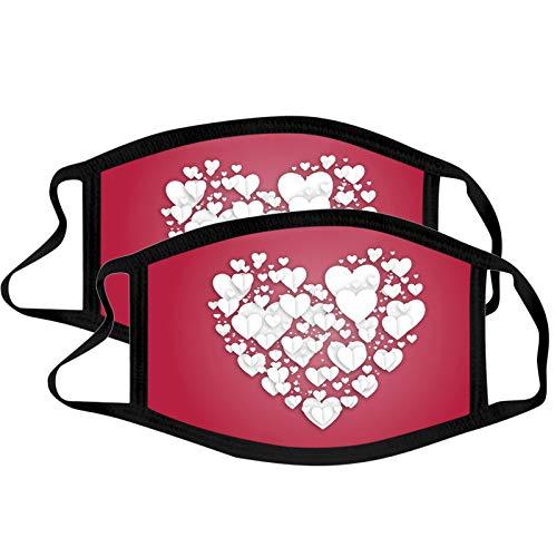 QIUMINGSS Valentinstag für Liebhaber 2 Stück Nasenschutz Mundschutz Schwarz Baumwolle Waschbar Stoff für Erwachsene Aurora Gedruckt Spezieller Entwurf D