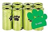 SANTER LABS Bolsas para Excrementos Residuos Caca Perros Gatos Mascotas Extrafuerte A Prueba de Fugas (33x22 cm) (120 Bolsas (8 Rollos))