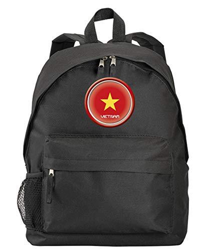 Vietnam Rucksack mit Flagge, Wappen, schwarz, mit Reißverschlusstaschen und Trägern