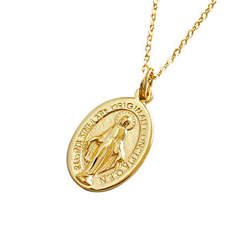 Dtja 18K Virgin Mary Necklace for Women Girls S925 Sterling Silver Gold Plated Oval Engraved Cross Miraculous Guadalupe Medal Pendant Necklaces 18 Inches Worship Reversible Keepsake Fashion Choker