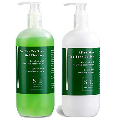 Salon Evolution Tea Tree Pre Wax & After Wax Lotion Duo 500ml Pre Post Depilatory Waxing Suitable for All Skin Types from HE Home & Beauty