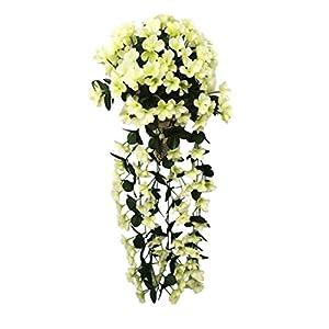 Fheaven Springs Flowers Artificial Silk Violet Bouquets Wedding Home Decoration,Violet Bracketplant Hanging Garland Vine Flower Traling