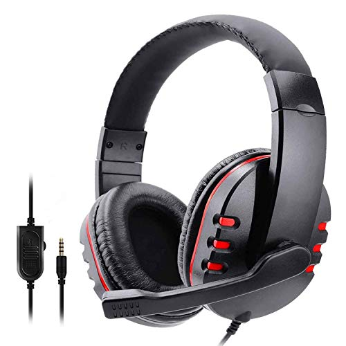 SODIAL Auriculares con Cable con MicróFono TeléFono PortáTil Auriculares de Computadora con Sonido EstéReo para Juegos para PS5 PS4 Rojo