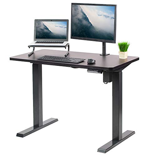 VIVO Electric 43 x 24 inch Stand Up Desk, Espresso Table Top, Black Frame, Height Adjustable Standing Workstation with Push Button Controller (DESK-KIT-E5B4E)