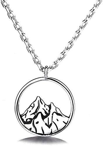 WLHLFL Collar Bohemio Vintage Collar n Collares Pendientes para Mujer Simple Snow Mountain Collar Senderismo Escalada Regalo Collar Colgante Cadena para Mujeres Hombres