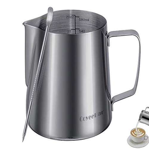Upgraded 20 oz Frothing Pitcher Espresso Milk Pitcher Cup  Stainless Steel Milk Frothing Pitcher with Measurements Inside Milk Steaming Pitcher with Coffee Art Pen