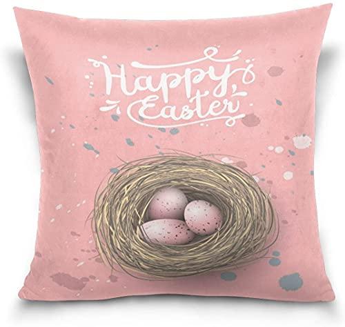 Throw Pillow Funda de cojín Decorativa Funda de Almohada Cuadrada, Acuarela Huevo Feliz día de Pascua Sofá Cama Funda de Almohada (18x18 Pulgadas)