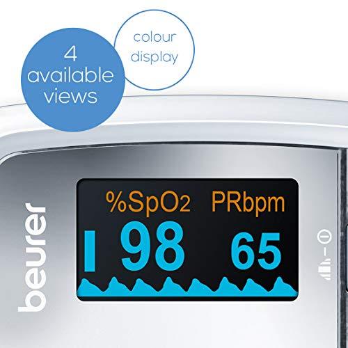 Beurer PO-30 - Pulsioxímetro de dedo, pantalla con 4 vistas, color blanco y plata