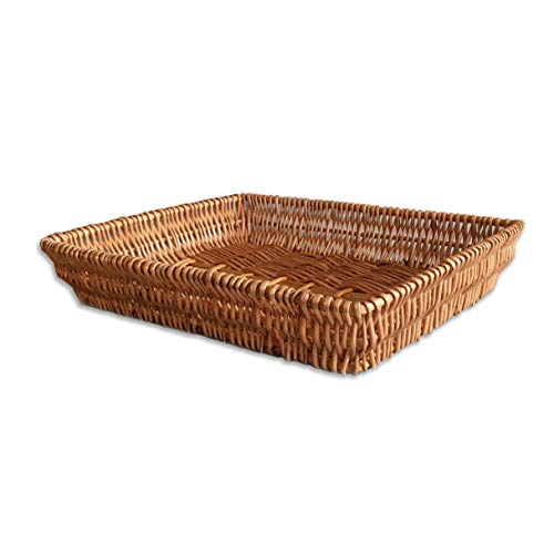 Rectangular Shallow Bread Basket,Flat Wicker Tray Baskets for Kitchen,Table,Fruit,Large