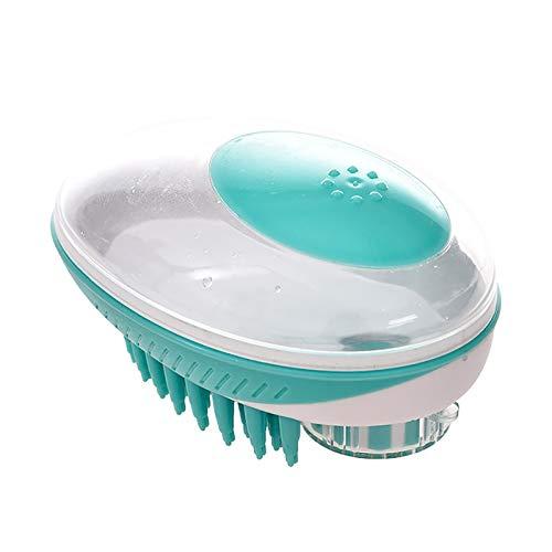 バスブラシ ペットブラシ ペットツール2と1ペットブラシ スクラップブラシ 入浴マッサージブラシ、ソフトシリコンブラシ、犬や猫の長い毛や短い毛をきれいにするために使用されます (グリーン)