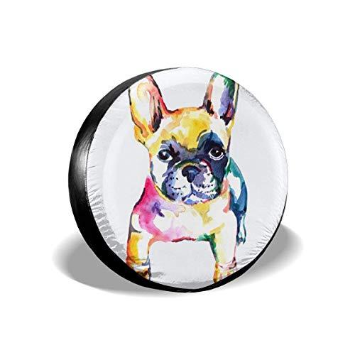Hokdny Bulldog Francés Bulldog Blanco Arco Iris Cubierta de neumático de Repuesto Poliéster Protector Solar Universal Tapas de Cubo Impermeables