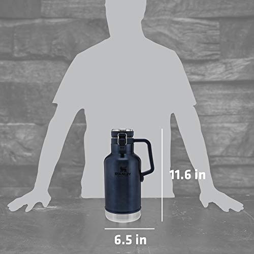 Stanley Classic Easy-Pour Growler 64oz, Insulated Growler Keeps Beer Cold & Carbonated made with Stainless Steel Interior, Durable Exterior Coating & Leak-Proof Lid, Easy to Carry Handle