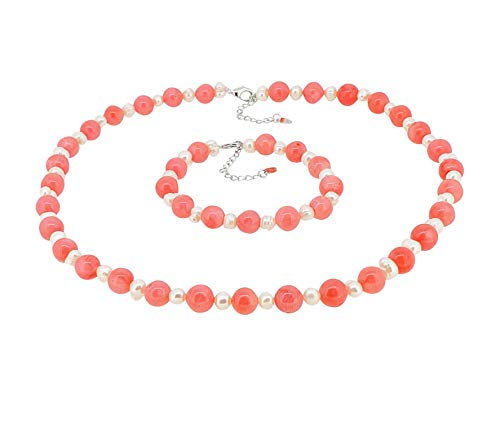 TreasureBay Elegant Natural Pink Coral and Freshwater Cultured Pearl Necklace, Bracelet and Earrings set