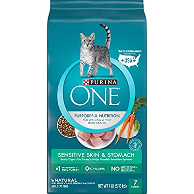 Purina ONE Sensitive Stomach, Sensitive Skin, Natural Dry Cat Food, Sensitive Skin & Stomach Formula - 7 lb. Bag