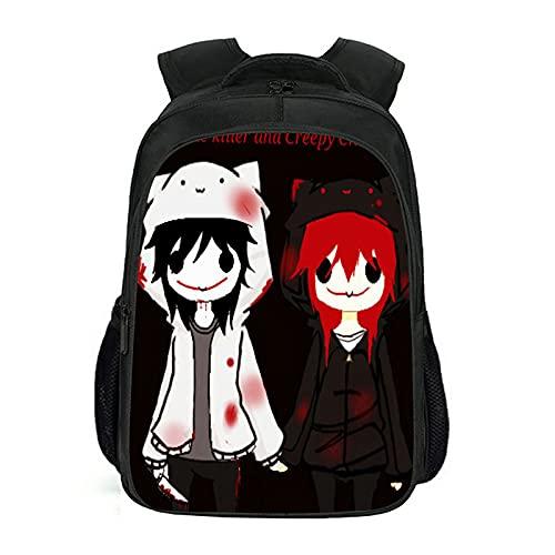 LYZL Mochila Escolar Mochila Creativa Bolso Mochila De Cómic De Creepypasta Mochila Impermeable Anime Bag, para La Escuela, Viajes, Camping,Style d