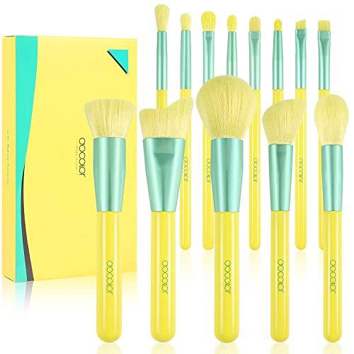 Docolor Makeup Brushes 13Pcs Lemon Makeup Brush Set Premium Kabuki Synthetic Foundation Blending Face Powder Mineral Eyeshadow Makeup Brushes Kit