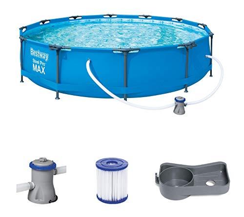 Bestway Steel Pro Max Pool Set 366x76 cm, Frame Pool rund im Set, inklusive Filterpumpe und Getränkehaltern