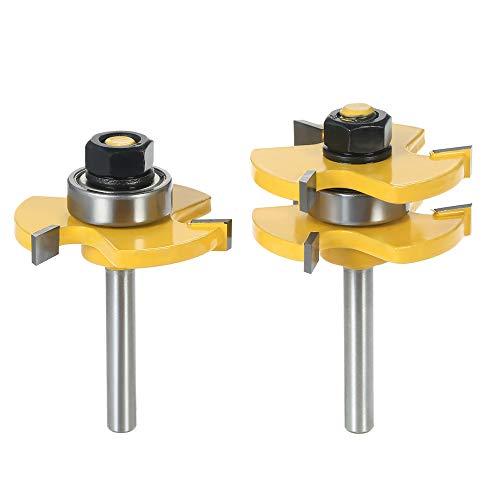 Artensky Nut- und Federfräser-Bits, 3 Schneiden, Holzbearbeitungs-Fräswerkzeug (6,35 mm) 2 Stück