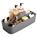 mDesign Plastic Portable Storage Organizer Caddy Tote - Divided Basket Bin with Handle for Bathroom, Shower, Dorm Room - Holds Hand Soap, Body Wash, Shampoo, Conditioner, Lotion - Charcoal Gray
