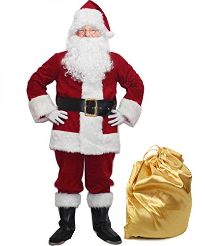 Men Deluxe Santa Costume Suit for Adults 10pcs Santa Claus Costumes for Christmas Xmas Velvet Red (Medium)