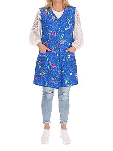 Delantal corto sin mangas 7/8 de algodón, multicolor azul 46