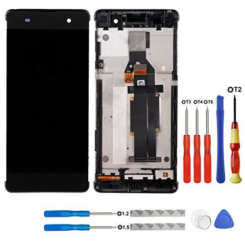 Pantalla LCD compatible con Sony Xperia XA F3111 F3113 F3115 Touch Screen Digitizer Glass Assembly marco de piezas de repuesto negro con herramientas