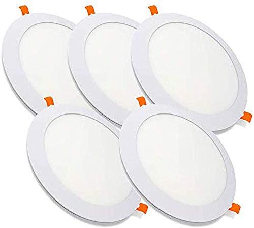 PACK DE 5 Downlight LED techo panel redondo ultra fino, COLOR BLANCO NEUTRO 4500K dormitorio, salón, baño, cocina, oficina 1250lm, [CLASE ENERGETICA A++] ] (4500K, PACK DE 5)