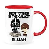Tazza da caffè personalizzata con scritta 'Best Father in the Galaxy, boy dad, regalo personalizzato per papa, Star Wars Darth Vader Jedi', papà di 1