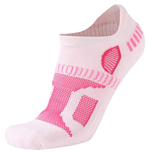 HAPYCEO Athletic CUhsion Running Low Cut Anti Blister No Show Running Socks Women and Men Cycling Athletic Golf (Large, Pink)