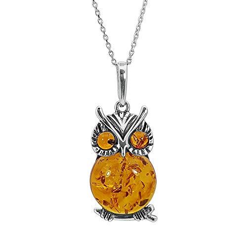 Kiara Sieraden 925 Sterling Zilver Grote Uil Hanger Ketting Ingelegd Met Bruine Baltische Amber op 18