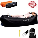 ChillPill Inflatable Lounger Comfortable Blow Up Hammock for Outdoor Use – Portable Lounge Chair with Side Pockets, Stakes, Bottle Opener and Carrying Bag – Lightweight Oxford Nylon Air Couch