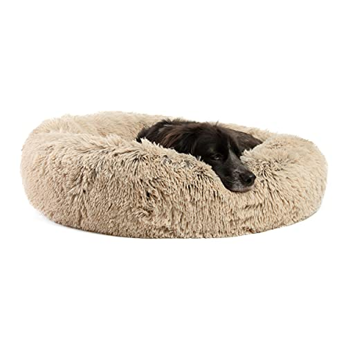 """Best Friends by Sheri The Original Calming Donut Cat and Dog Bed in Shag Fur, Machine Washable, Removable Zippered Shell, for Pets up to 45 lbs – Medium 30""""x30″ in Taupe"""