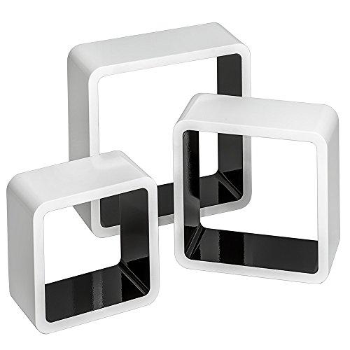 TecTake 800703 3 Etagères murales Design Cube de Rangement en Bois, pour des Livres, CDs et de la décoration, Matériel de Montage Inclus - Plusieurs Couleurs - (Blanc-Noir | no. 403182)