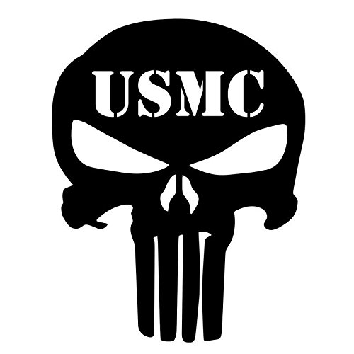 "32 & Willys USMC Punisher Skull Decal Premium 5"" { White } 