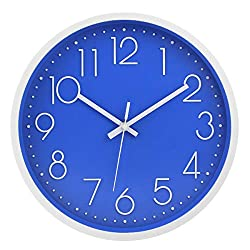 Filly Wink Modern Wall Clock Silent Non-Ticking Sweep Movement Battery Operated Easy to Read Home/Office/School Clock 12 Inch Blue