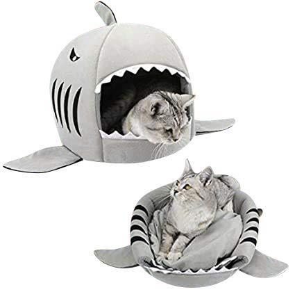 Cama para gato diseño de tiburón cesta para animales domésticos 2 en 1 sofá nido acogedor cachorro cálido saco de dormir interior tienda de cama para pequeño perro gatito conejo hámster desmontable