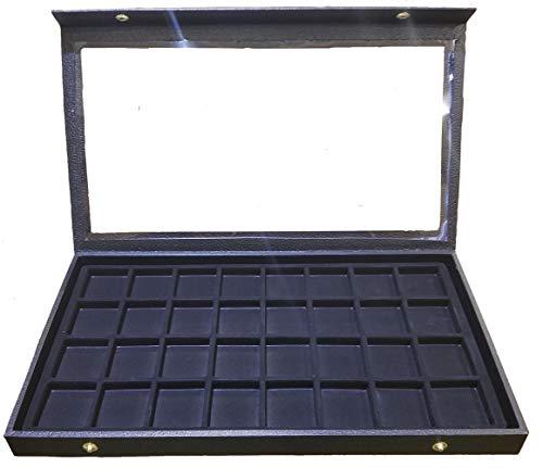 Caja de exhibición de 32 ranuras para pendientes, anillos, gemelos, monedas, color negro