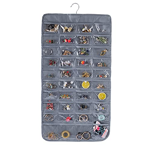 Bloss Hanging Jewelry Organizer With 80 Pockets Jewel Hanger For Jewelry Earring Storage-Gray