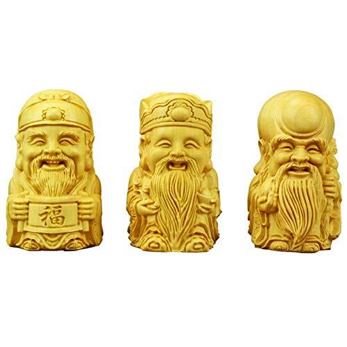 Fu Lu Shou Estatua Feng Shui Figurilla, Boj, Escultura de la Deidad de la Prosperidad de Las Tres Estrellas Celestiales y Figurilla de la Longevidad Juego de 3, Juego