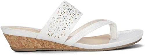 Kenneth Cole REACTION Woherren  me Low Wedge Thong Sandal, Weiß, 6 M US