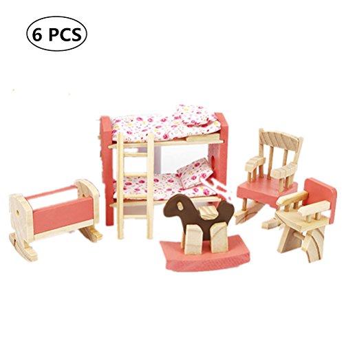 TOYMYTOY Muñecas de Muebles de Madera de Dormitorio de Niños Juguete para Niño Bebé